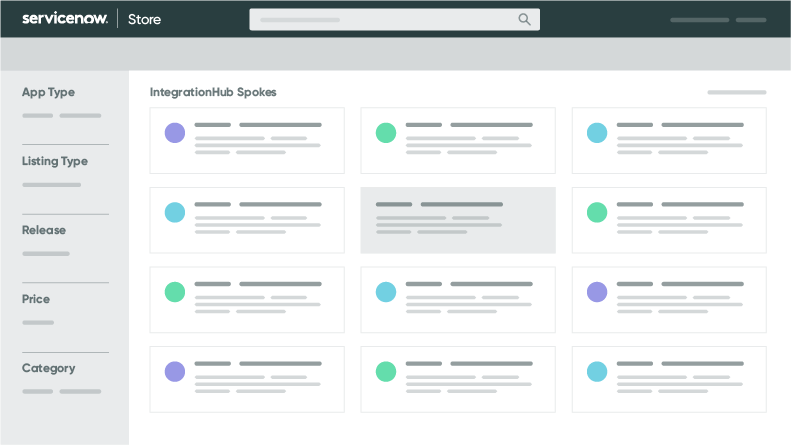 Prebuilt integration spokes in the ServiceNow store